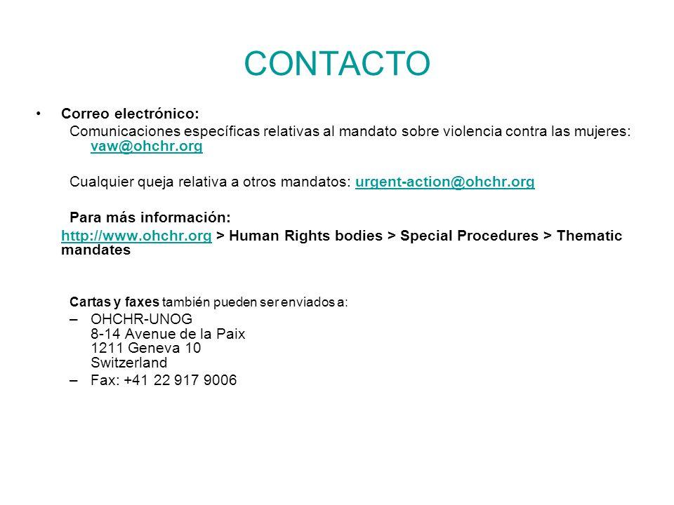 CONTACTO Correo electrónico: