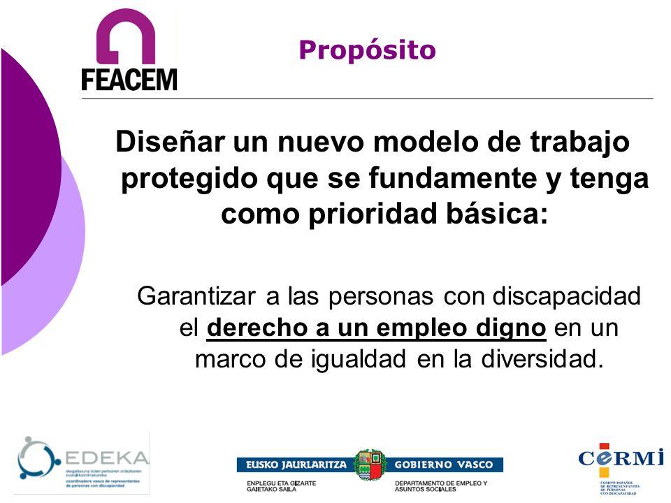 Propósito Diseñar un nuevo modelo de trabajo protegido que se fundamente y tenga como prioridad básica: