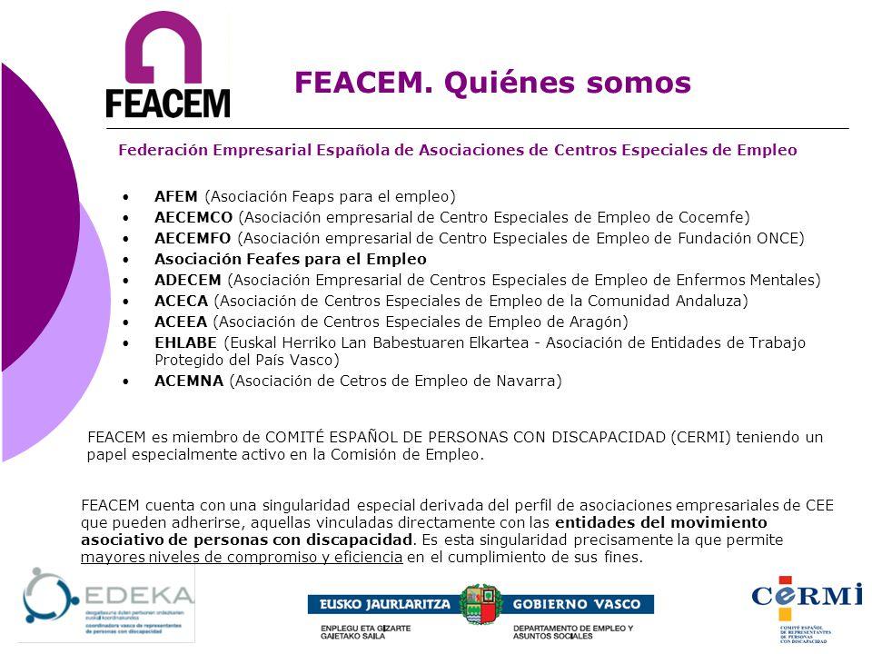 FEACEM. Quiénes somos Federación Empresarial Española de Asociaciones de Centros Especiales de Empleo.