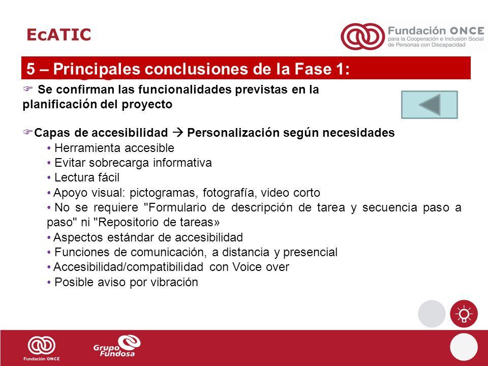 5 – Principales conclusiones de la Fase 1: