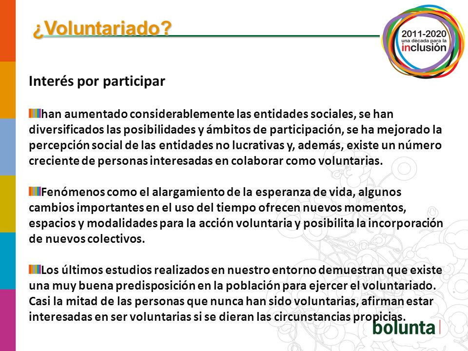 ¿Voluntariado Interés por participar
