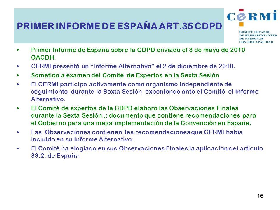 PRIMER INFORME DE ESPAÑA ART.35 CDPD