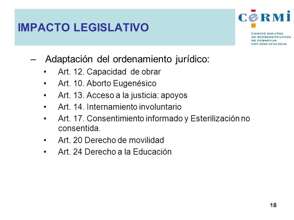 IMPACTO LEGISLATIVO Adaptación del ordenamiento jurídico: