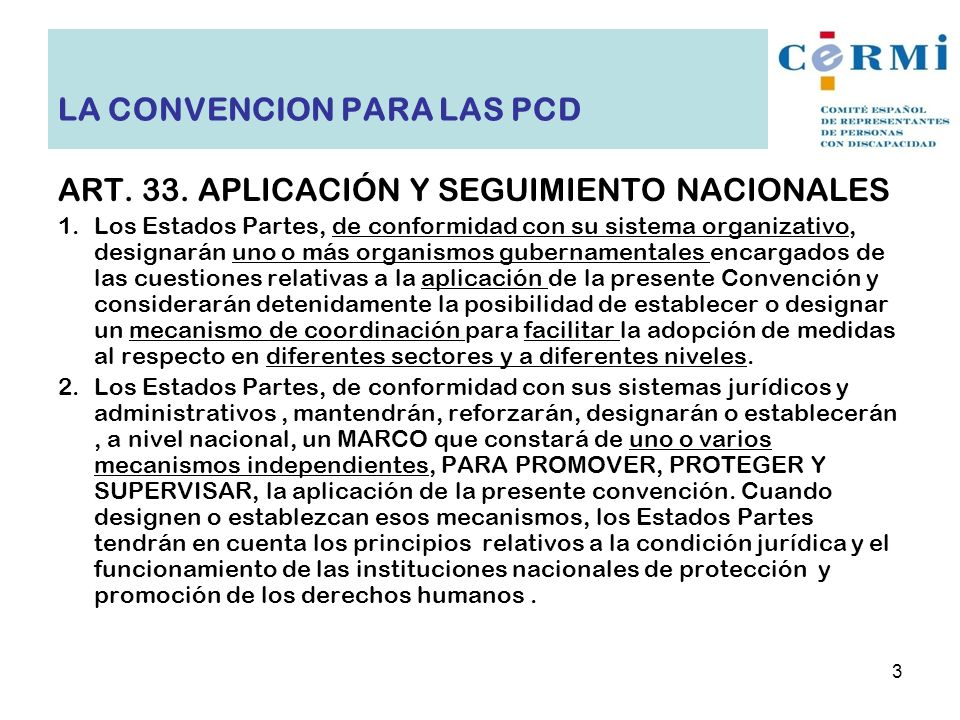 LA CONVENCION PARA LAS PCD