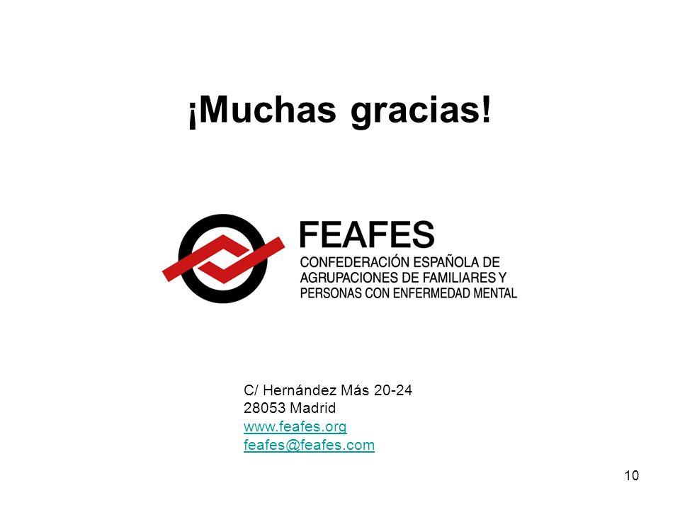 ¡Muchas gracias! C/ Hernández Más 20-24 28053 Madrid www.feafes.org