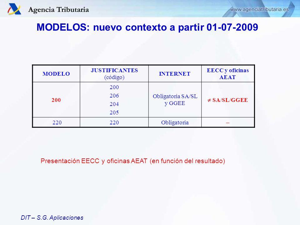 MODELOS: nuevo contexto a partir 01-07-2009