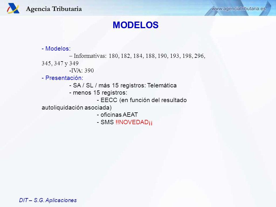 MODELOS - Modelos: – Informativas: 180, 182, 184, 188, 190, 193, 198, 296, 345, 347 y 349. IVA: 390.