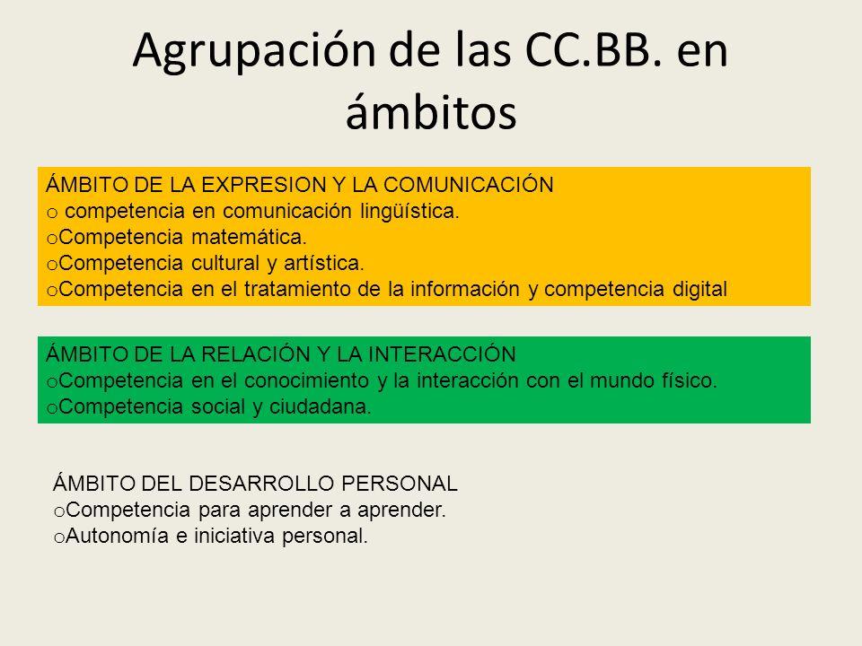 Agrupación de las CC.BB. en ámbitos