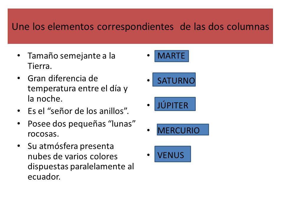 Une los elementos correspondientes de las dos columnas
