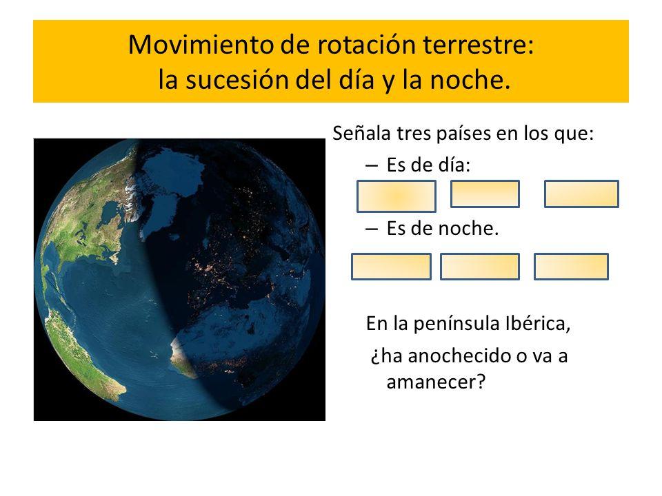 Movimiento de rotación terrestre: la sucesión del día y la noche.