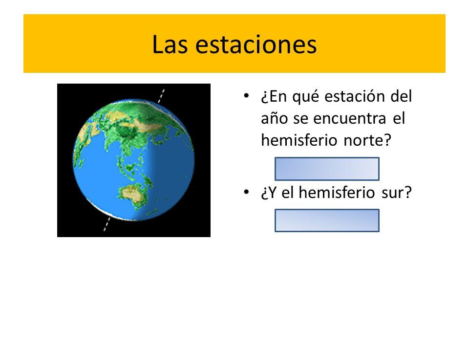 Las estaciones ¿En qué estación del año se encuentra el hemisferio norte ¿Y el hemisferio sur