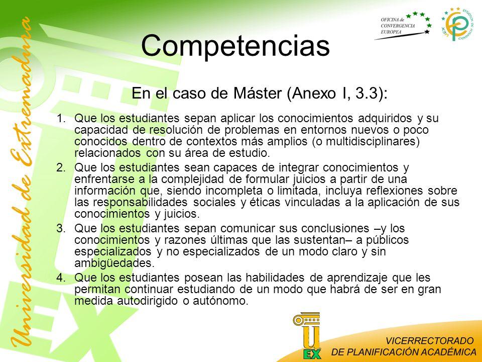 En el caso de Máster (Anexo I, 3.3):