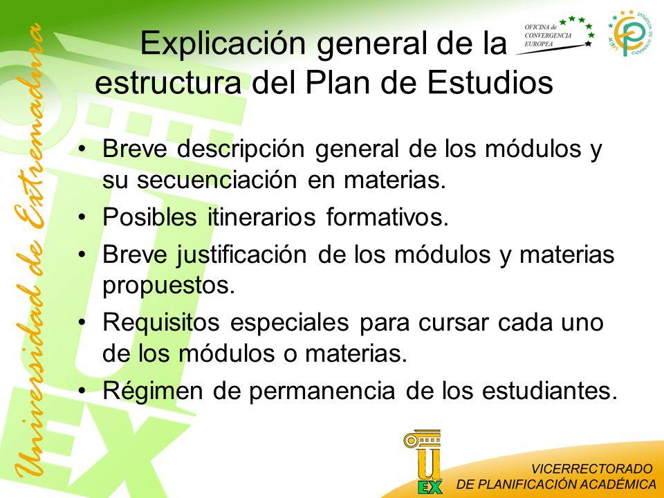 Explicación general de la estructura del Plan de Estudios