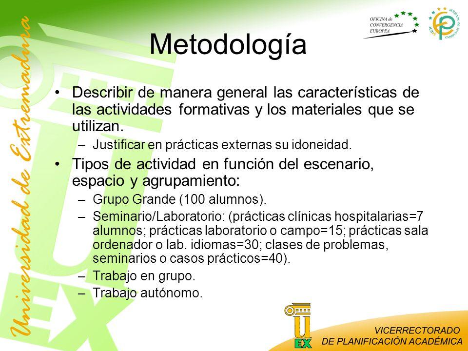 Metodología Describir de manera general las características de las actividades formativas y los materiales que se utilizan.
