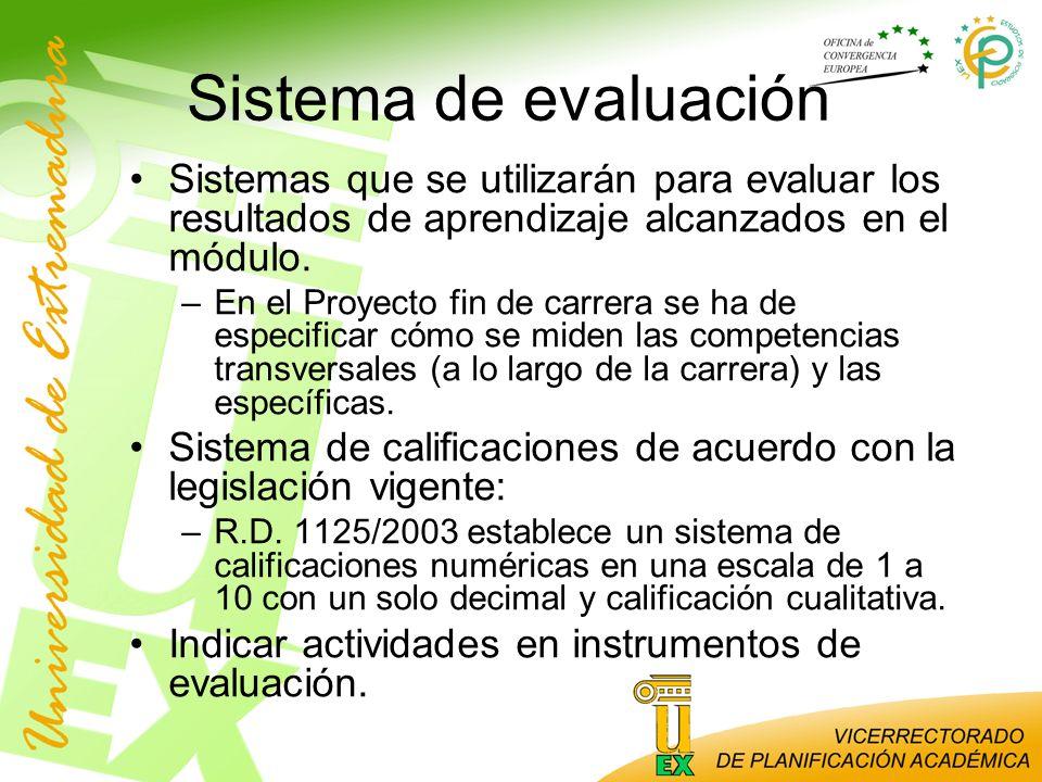 Sistema de evaluación Sistemas que se utilizarán para evaluar los resultados de aprendizaje alcanzados en el módulo.