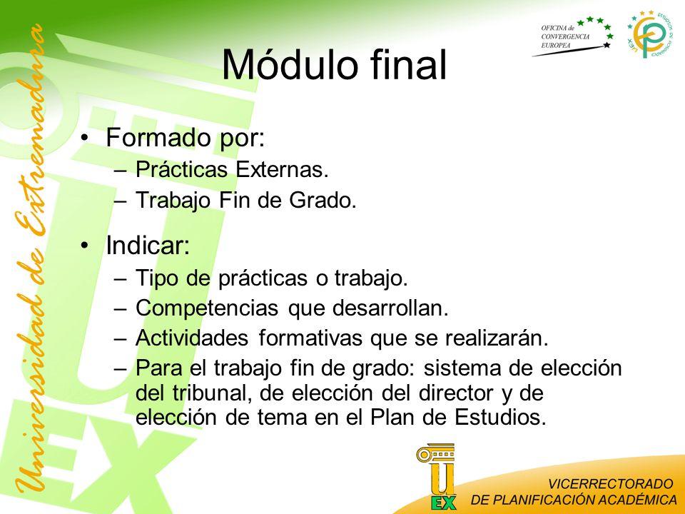 Módulo final Formado por: Indicar: Prácticas Externas.