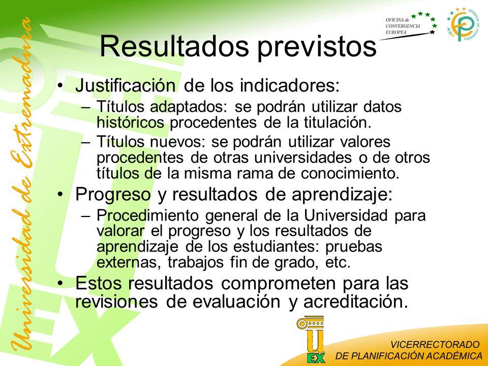 Resultados previstos Justificación de los indicadores: