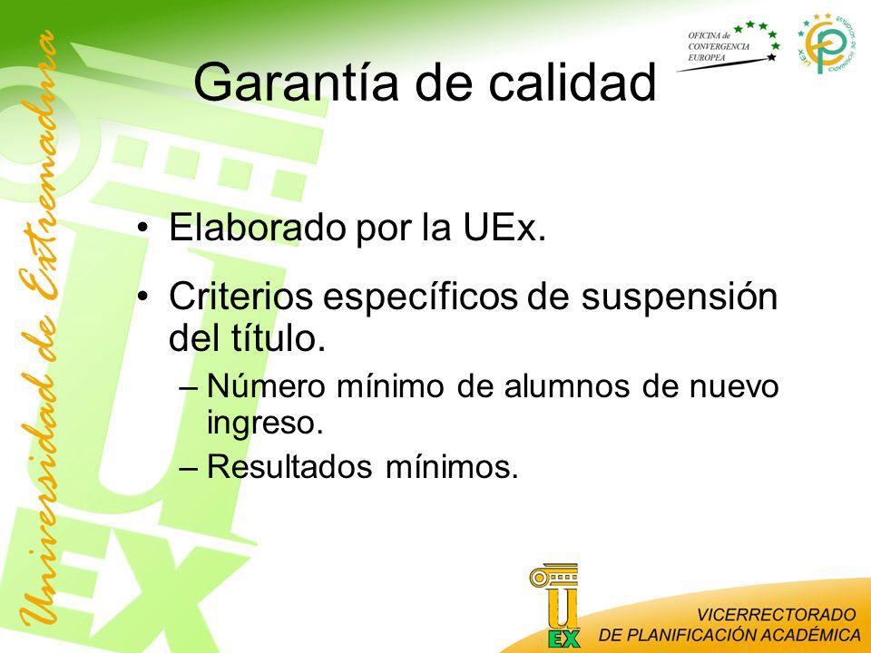 Garantía de calidad Elaborado por la UEx.