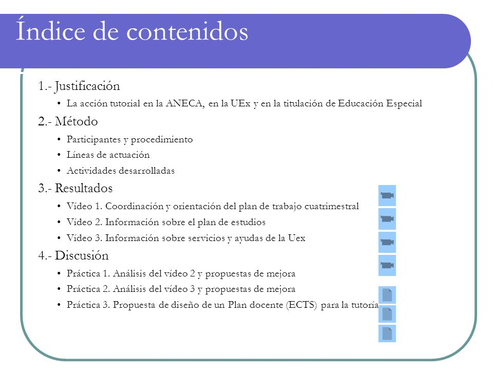 Índice de contenidos 1.- Justificación 2.- Método 3.- Resultados