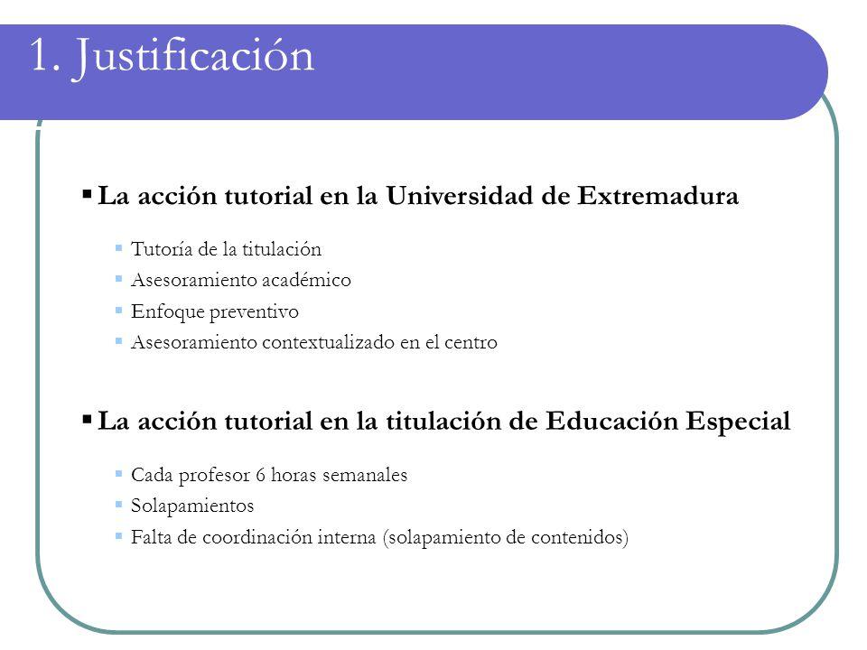 1. Justificación La acción tutorial en la Universidad de Extremadura