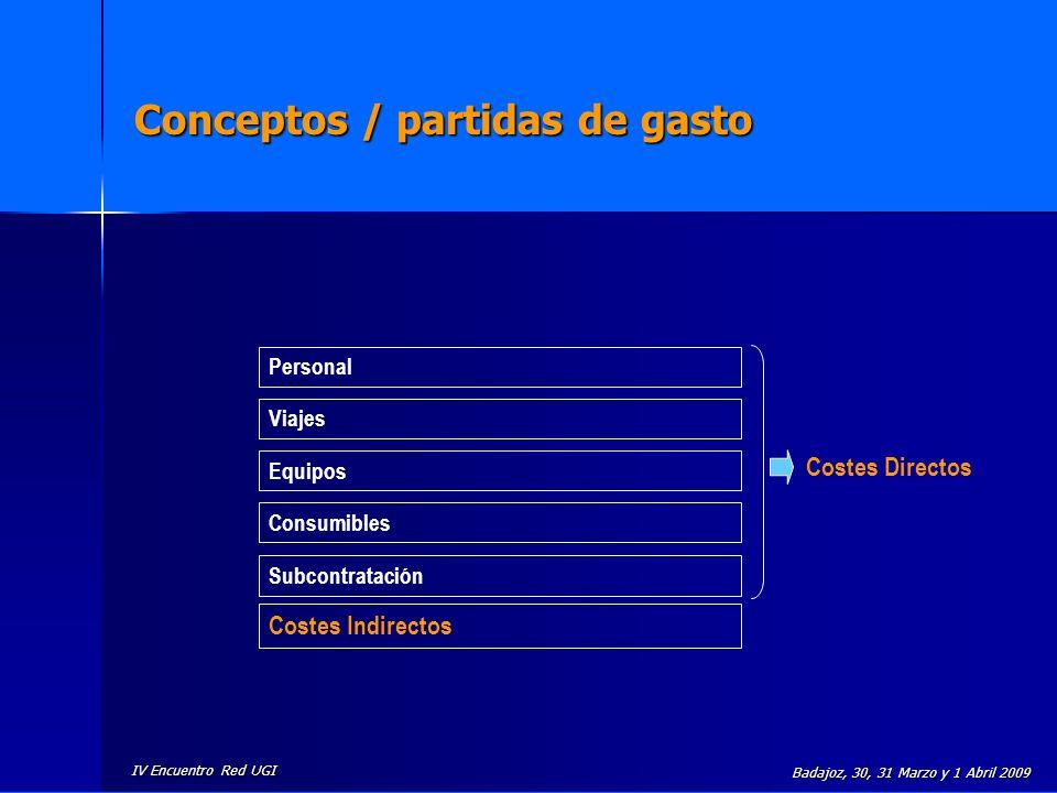 Conceptos / partidas de gasto