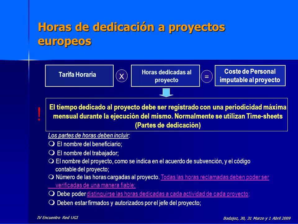 Horas de dedicación a proyectos europeos