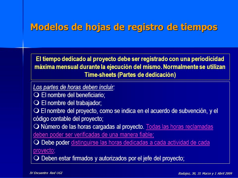 Modelos de hojas de registro de tiempos
