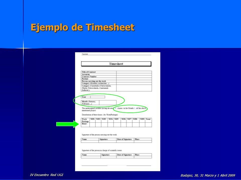 Ejemplo de Timesheet Badajoz, 30, 31 Marzo y 1 Abril 2009