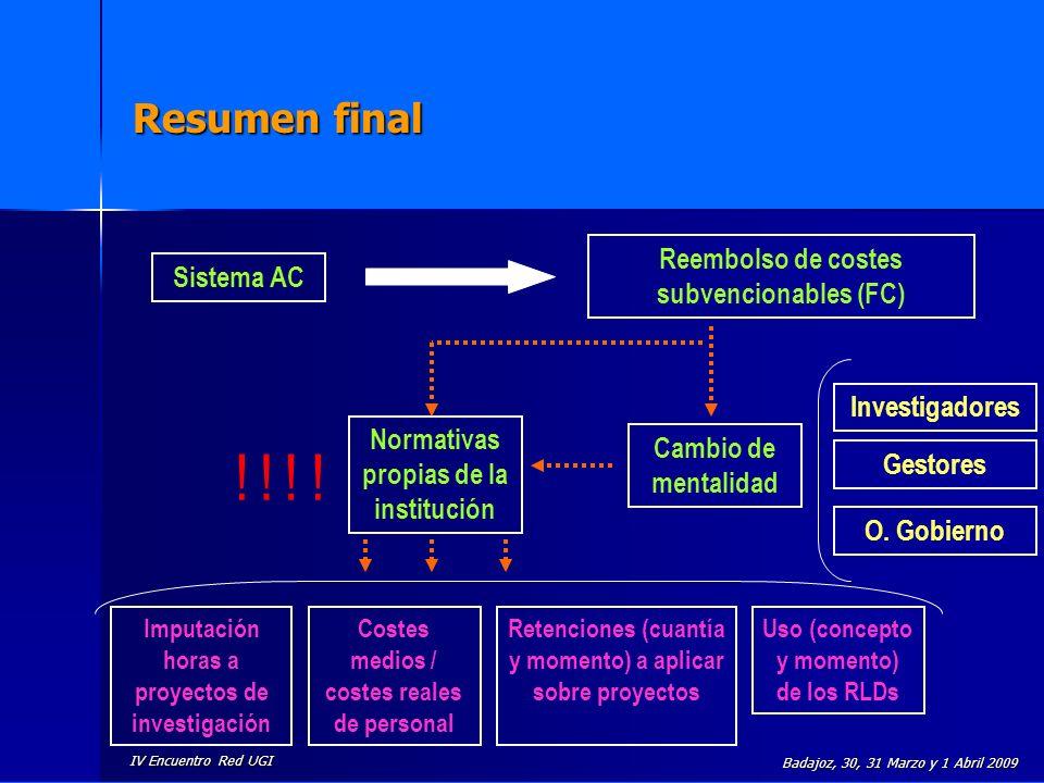 ! ! ! ! Resumen final Reembolso de costes subvencionables (FC)