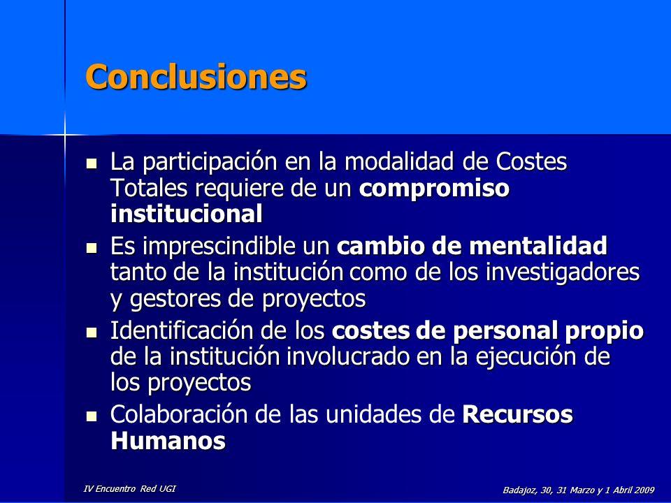 Conclusiones La participación en la modalidad de Costes Totales requiere de un compromiso institucional.