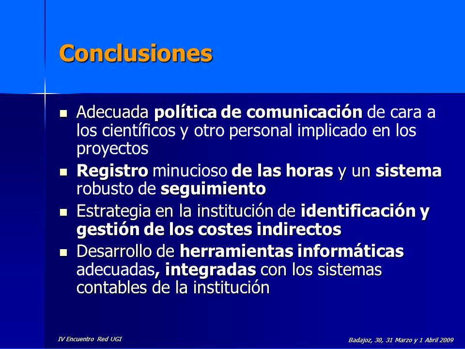Conclusiones Adecuada política de comunicación de cara a los científicos y otro personal implicado en los proyectos.