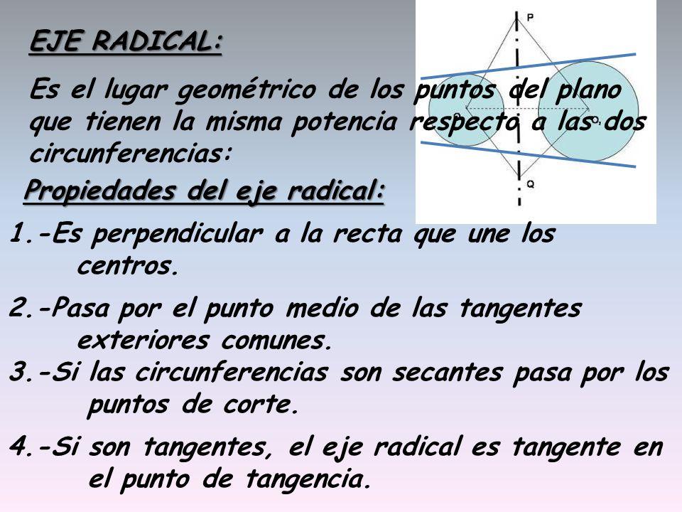 EJE RADICAL: Es el lugar geométrico de los puntos del plano que tienen la misma potencia respecto a las dos circunferencias: