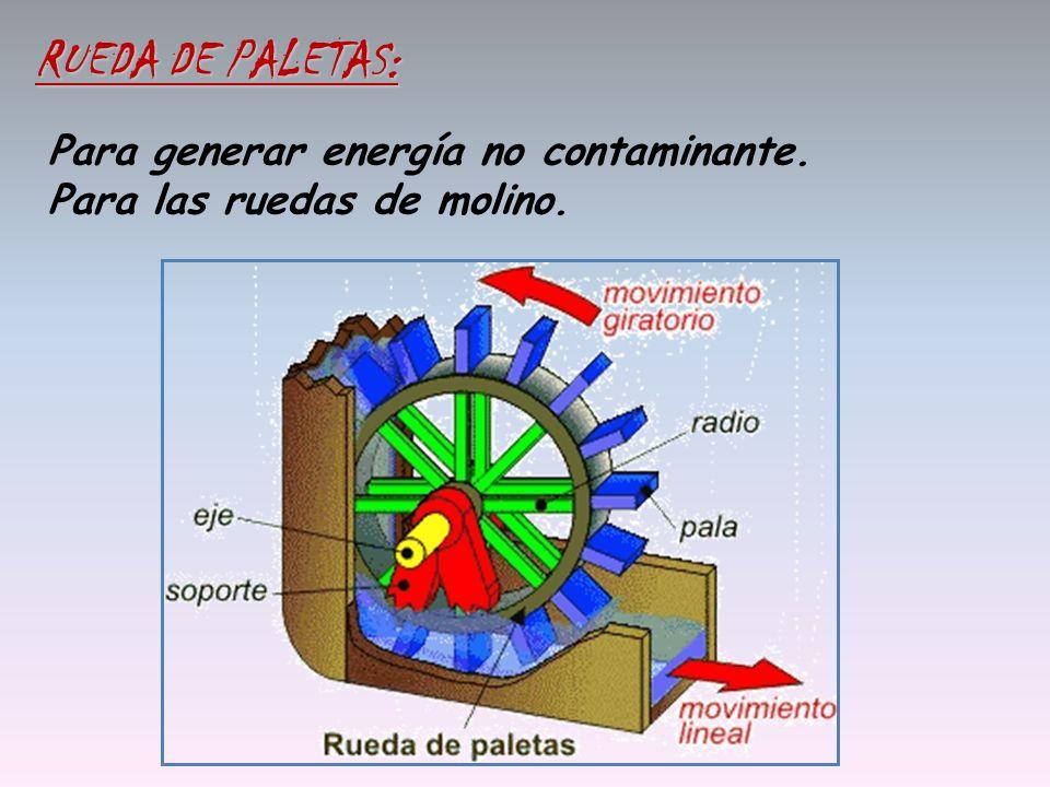 RUEDA DE PALETAS: Para generar energía no contaminante.
