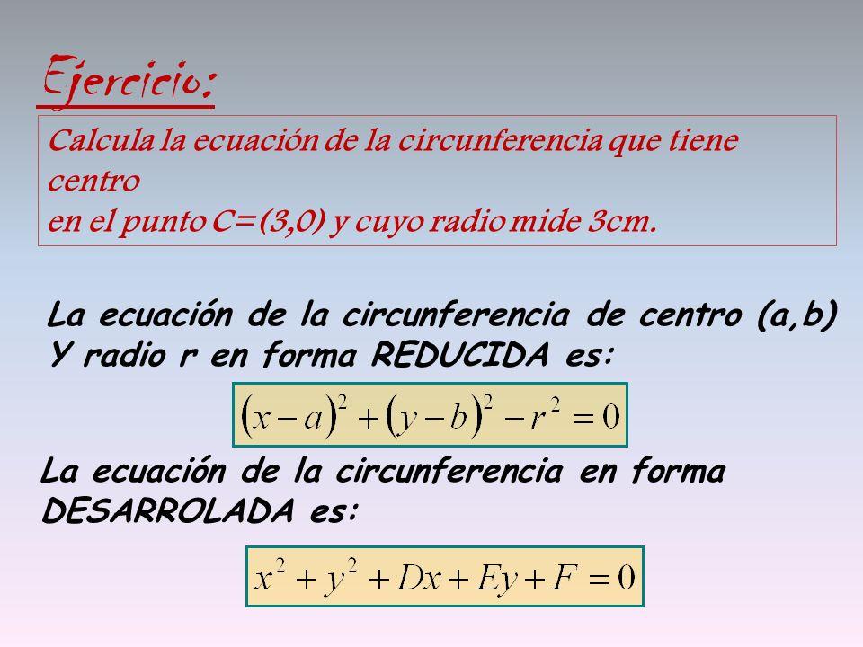 Ejercicio: Calcula la ecuación de la circunferencia que tiene centro en el punto C=(3,0) y cuyo radio mide 3cm.