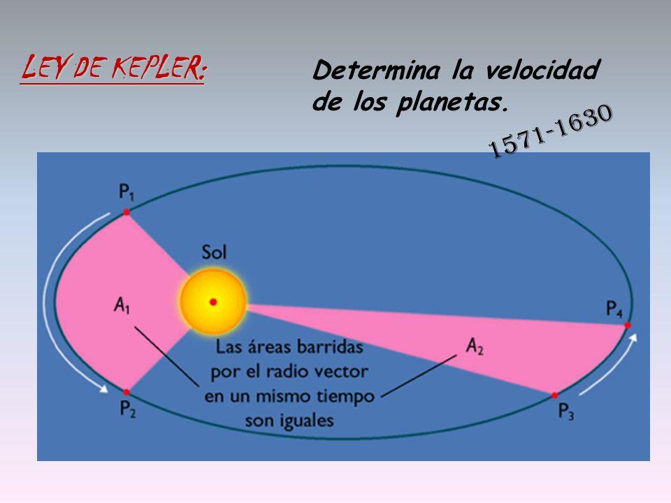 LEY DE KEPLER: Determina la velocidad de los planetas. 1571-1630
