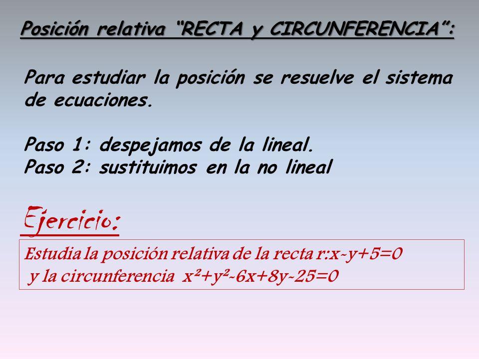 Ejercicio: Posición relativa RECTA y CIRCUNFERENCIA :