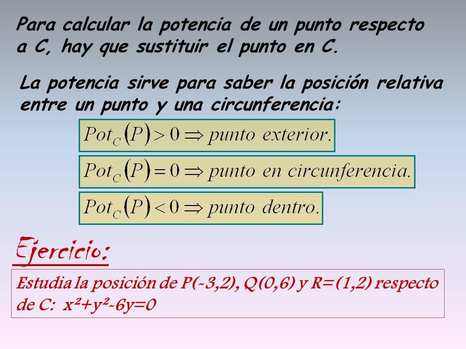 Para calcular la potencia de un punto respecto a C, hay que sustituir el punto en C.