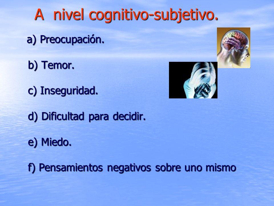 A nivel cognitivo-subjetivo.