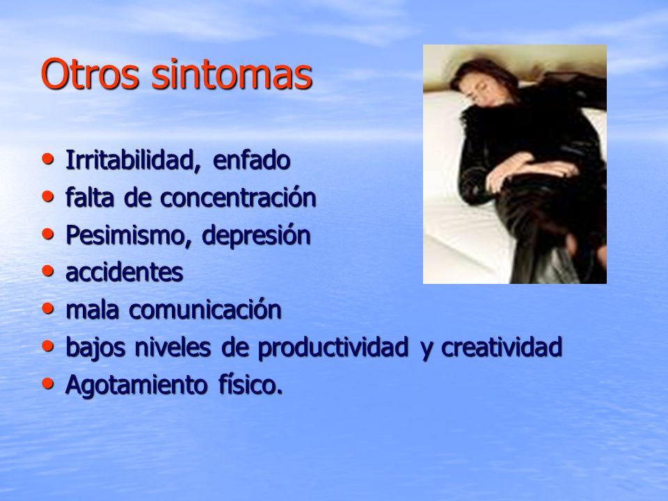 Otros sintomas Irritabilidad, enfado falta de concentración