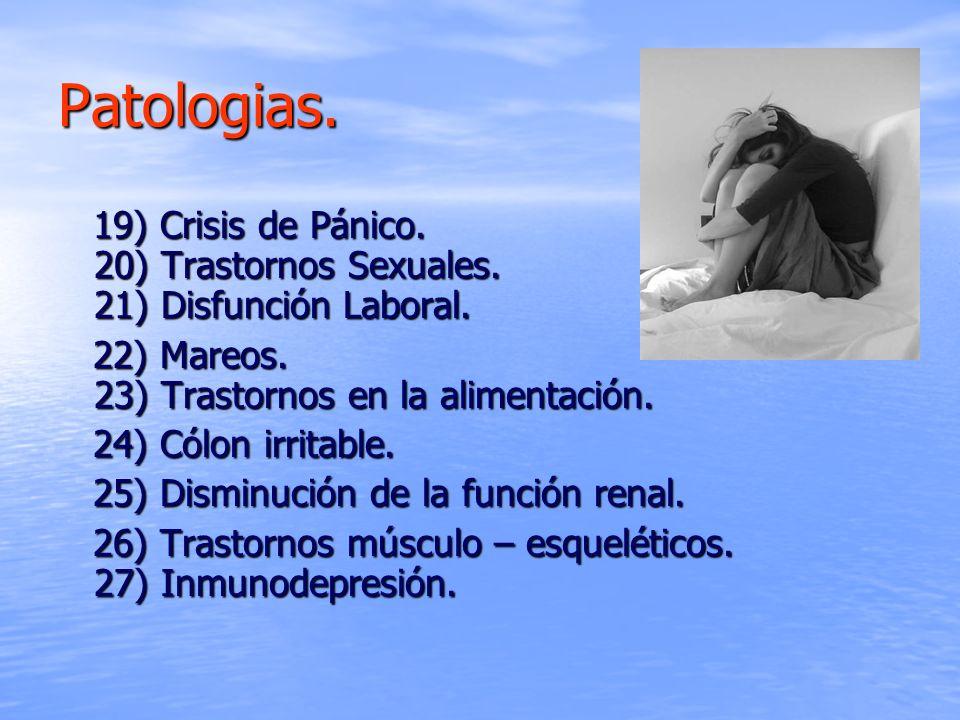 Patologias.19) Crisis de Pánico. 20) Trastornos Sexuales. 21) Disfunción Laboral. 22) Mareos. 23) Trastornos en la alimentación.