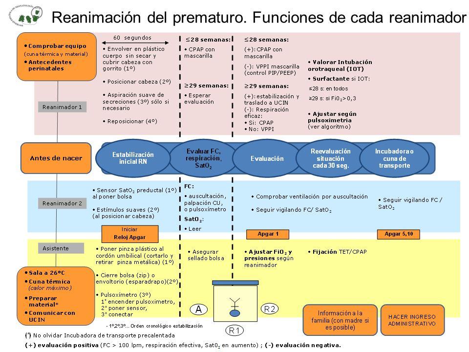 Reanimación del prematuro. Funciones de cada reanimador