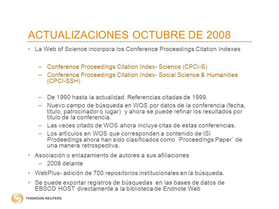 ACTUALIZACIONES OCTUBRE DE 2008