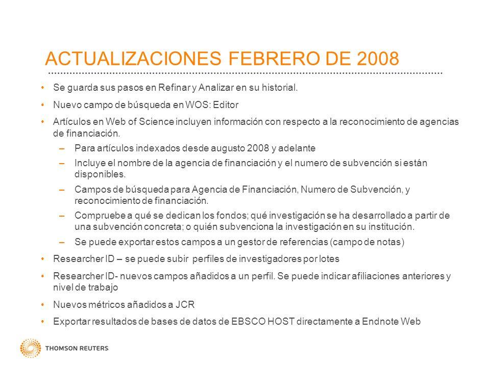 ACTUALIZACIONES FEBRERO DE 2008