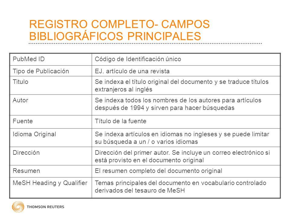 REGISTRO COMPLETO- CAMPOS BIBLIOGRÁFICOS PRINCIPALES