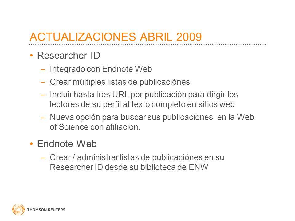 ACTUALIZACIONES ABRIL 2009