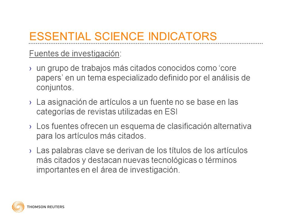 ESSENTIAL SCIENCE INDICATORS