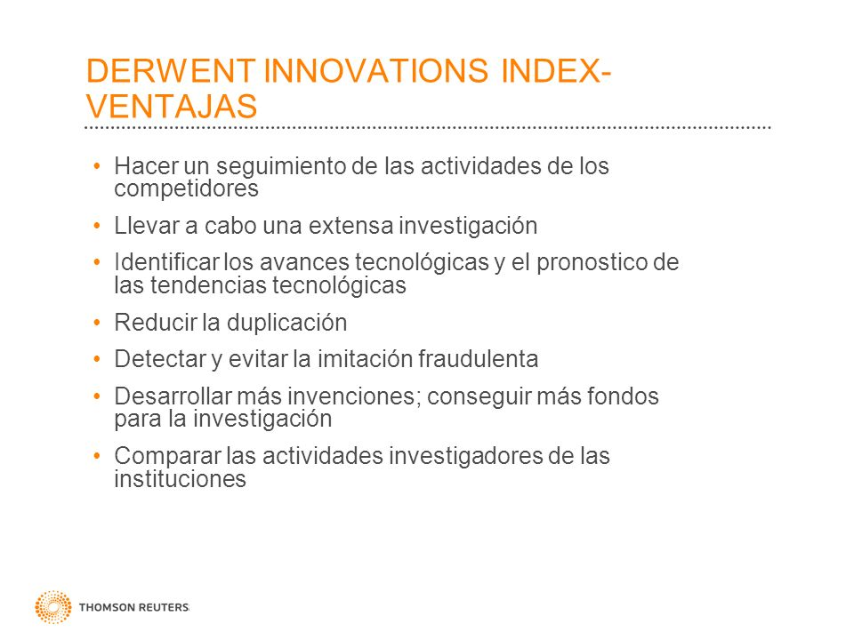 DERWENT INNOVATIONS INDEX- VENTAJAS