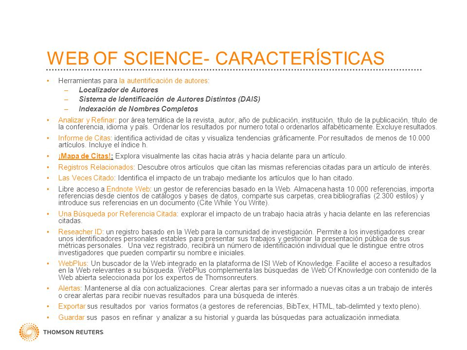 WEB OF SCIENCE- CARACTERÍSTICAS