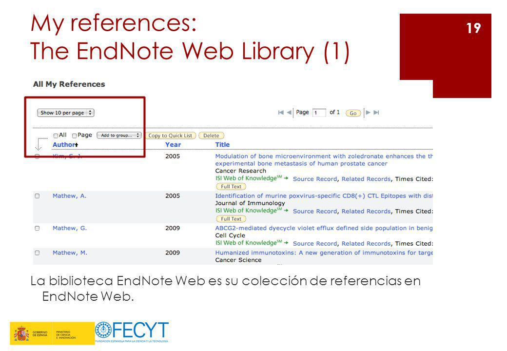 My references: The EndNote Web Library (1)