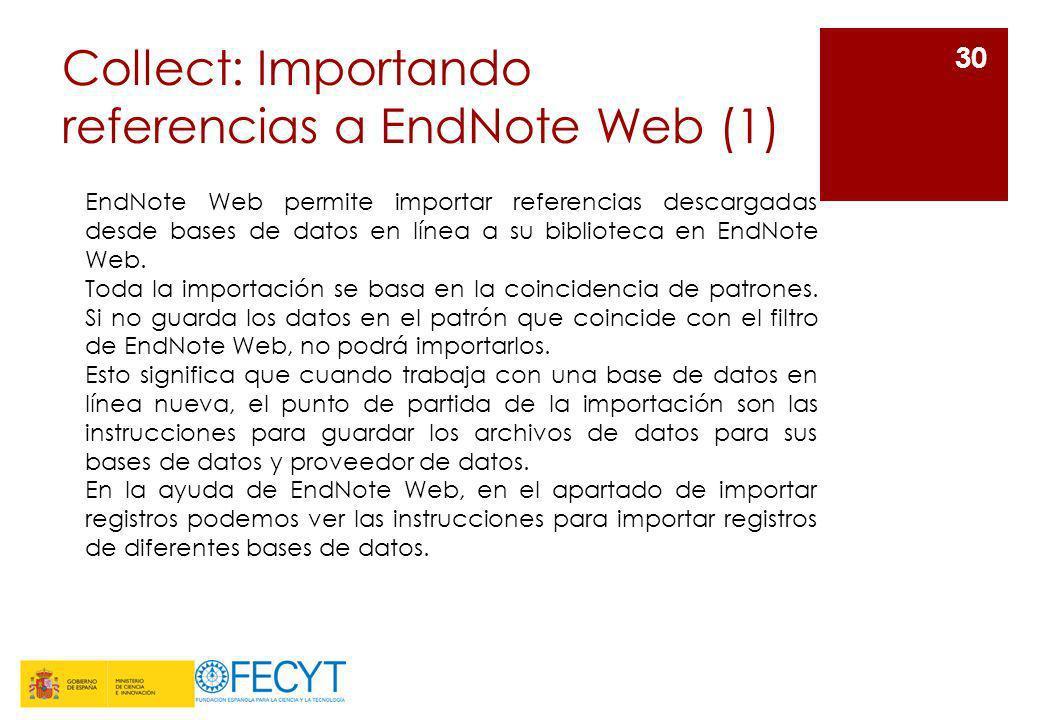 Collect: Importando referencias a EndNote Web (1)